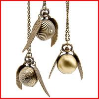 achat en gros de vif d'or montre de poche-Harry Potter Boucle d'oreille en or Boucles d'oreilles pendentif collier Bronze Quidditch Ailes Montre quartz Fob Montres hommes femmes bijoux 230150