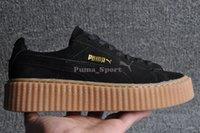 creepers - 2016 Rihanna x Suede Creeper Black Oatmeal Women Men Casual Shoes Fashion Ladies Rihanna shoes sneakers women men