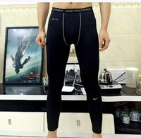 Wholesale Men s Exercise Gym trousers Pro Quick dry Sportswear Running Bodybuilding Skin Sport Training Fitness Compression trousers Men s pants vcbhg