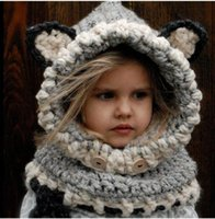 Wholesale Fashion Fox Baby Hats Autumn Winter Caps Kids Girls Boys Warm Knitted Coif Hood Scarf Beanies toddler christmas gifts years old