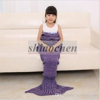 blankets - Kids Crochet Mermaid Blankets Handmade Mermaid Tail Blankets Mermaid Tail Sleeping Bag Knit Sofa Nap Blankets Costume Cocoon A1242