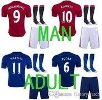 away fashion - A quality MancHESTER Jerseys kit socks Home Away unITED Red IBRAHIMOVIC POGBA Rooney Soccer Jerseys football shirts Uni