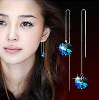 Femmes coréennes longue section de boucles d'oreilles de tempérament féminin boucles d'oreille de bourrelet Coeur d'océan Boucle d'oreille en cristal bleu