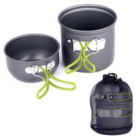 Wholesale 2 In Portable Foldable Outdoor Camping Hiking Cookware Backpacking Cooking Picnic Pot Set with Mesh Bag