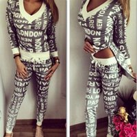 Wholesale Gagaopt Spring Autumn Women Sets Letter Print Sport Suit Sexy V neck Tracksuits for Women Sweatshirts Trousers Lady Suits