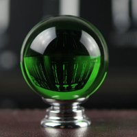 Cheap D40mm fashion deluxe glass K9 crystal furniture knobs green crystal drawer cabinet knob pull silver dresser cupboard door handles 10pcs set