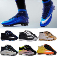Wholesale Men Mercurial Superflys FG CR7 Soccer Cleats Children Soccer Shoes Laser High Top Kids Boys Football Boots women Girls Football Shoes