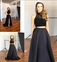 beautiful robe - Beautiful Long Two Pieces Prom Dresses With Black Beaded Side Split Off The Shoulder Women Party Gowns For Graduation Robe De Soiree