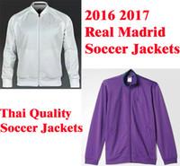 Wholesale Benwon Madrid white full sleeve football jackets adult s outdoor leisure soccer hoodies purple thai quality men winter sports jacket