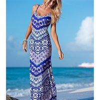 Wholesale 2016 Summer Floral Maxi Women Dresses Fashion Spaghetti Straps Bodycon Print Beach Long Dresses For Ladies
