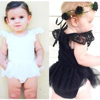 Wholesale Cheap Newborn Clothes For Girl - 2016 Cheap Baby Girl White Black Romper Pokadot Cartoon Rompers Toddler Clothing for Newborn Jumpsuits Baby Wear MC0124