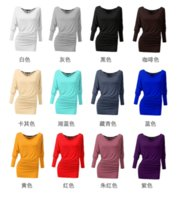 autumn womans clothes - Solid Color Long T Shirt Slim Fashion Crew Neck T Shirt Womans Clothing with Color Blending Cotton for Sping Autumn Ladies TM1040