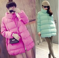 Wholesale Winter new fashion long section loose cotton women s casual feather padded Jacket Coat Women Cotton Down Parkas