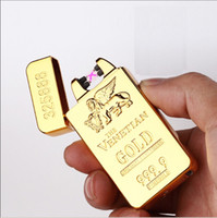 Wholesale The Venetian gold plated double arc lighter gold arc pulse lighter USB charging wind proof high end Electronic lighter E lighter