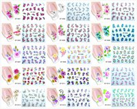 Wholesale Artificial flowers Nail Sticker Bows Etc Nail Sticker Water Transfer Sticker Nail Art Decals Nails Wraps Watermark Nail Can use A Month