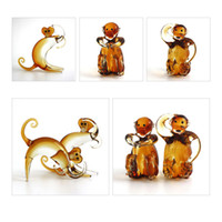 Carved animal shapes crafts - Auspicious Monkey Ornaments Natal Zodiac Creative Glass Decoration Crafts Ornaments with Lovely Monkey Shape for Home Decoration