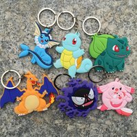 Wholesale New Cheap Promotion Poke PVC Double Side Keychains Anime Cartoon Pikachu Key Ring styles Pendant Gift Key Rings Bag Holder