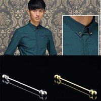 Wholesale Fashion Jewelry Men Silver Gold Slim Collar Pin Stainless Steel Skinny Tie Clip Clasp Bar C00210 CAD