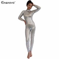 adult full body costume - Ensnovo Women Full Body Catsuit Adult Cosplay Suit Wetlook Turtleneck Long Sleeve Hollow Out Zip Back Sexy Party Costume