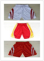 Wholesale Top Auality For Cheap Mens Houston Retro Basketball Shorts In White Red Hot Sale