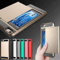 Wholesale Luxury Dual Layer Armor coque Mobile Phone Case with Slide Card fundas Cover Case Back for Iphone s s plus plus Samsung S6 S6 Edge S7