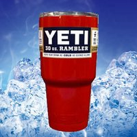 beer tops - Top quality Red Color Bilayer YETI Cups oz Stainless Steel Cooler Mug Cup Cars Travel Vehicle Beer Large Capacity Tumblerful Mugs