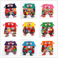 Wholesale 2016 fashion bag Colorful Ethnic Style Owl Children Package Kids Girls Fashion School Bags Chinese Characteristic A0236