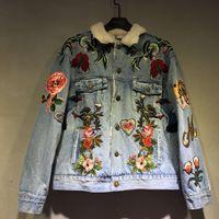 bee butterfly - 2016 winter fashion brand New men women s coat jacket Unique style Embroidery flower butterfly bee Cowboy shirt women Long sleeve