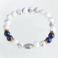 beaded bead dolls - Luxury Brand White Turquoise Beaded Bracelets European Charms Silver Plated Alloy Russia Dolls Gemstone Beads Strands Bracelet For Men