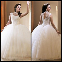 ball water feature - Crystals Beaded Ball Gown White Organza Quinceanera Dresses Featuring Crew Neckline Capped Sleeve Keyhole Back Girls Prom Gowns