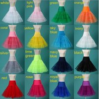 accessories white lines - In Stock Colors Puffy A Line Ruffles Knee Length Petticoat Underskirt Crinoline For Wedding Dress Accessories