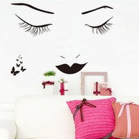 Removable beauty wall decal - Fashion Eyelash Mouth Wall Stickers Beauty Girls Wall Decals Wallpaper for Girls Bedroom Living Room Home Decorations WS517