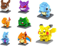 Wholesale 8Pcs Set Pocket Monster Building Blocks Pikachu Mewtwo Gengar Bulbasaur Squirtle Eevee Charizard Charmander Blocks Toys