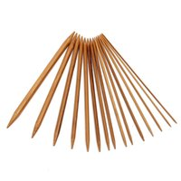 Wholesale 75pcs Sizes Carbonized Bamboo Double Pointed Knitting Needles Hat Sweater Scarf Crochet Hook