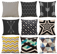 throw pillows square - 126 Patterns Throw Pillow Cover Wave Cushion Covers Cotton Linen Geometric Patterns Decorative Pillow Case Covers Drop Shipping