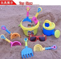 Wholesale 2016 Hot set Baby Sand Playing Tool Beach Toys Buckets glasses watering can