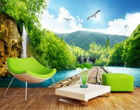 background fall - Custom photo Silk D wallpaper for walls D living room hotel office TV background wall covering sky falls lake mural wallpaper