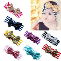 Wholesale New Fashion girls Bow headbands baby sequins bowknot headband girls Striped cotton headbands Handmade baby Accessories colors cm
