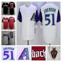 Cheap Randy Johnson Jersey, Cheap Arizona Diamondbacks Throwback 51# Baseball Jersey, Stitched Black Red White High Quality