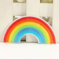 Wholesale 5pcs Rainbow Embroidery Iron on Appliqued Patch DIY Fabric Sticker Sewing Clothes Bags T shirt Hat Decorative Ornament