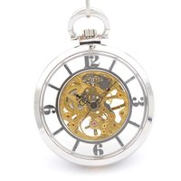 Wholesale Silver Skeleton Mechanical pocket watches for sale with chain Hand Wind up modern inexpensive pocket watch stores