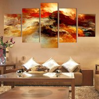 Cheap Fashion 5 Pcs Canvas Art Abstract Canvas Painting Color Cloud Wall Decor Pictures No Framed Wall Painting For Art Decoration Picture Posters