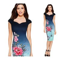 Wholesale Hot sale african fashion designs dress bodycon sleeveless dress floral printing slim fit women career dress WD101