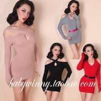 Wholesale 2016 New Autumn Sexy Strapless Slim Tight Red Black Gray V Neck Long Sleeve Jumper Pullover Knitted Sweater Women