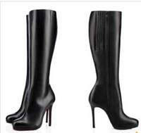 Pompes 85mm / 100mm / 120mm Heels minces Bottes Fifi Botta plate-forme de bottes de fond rouge cuir noir dames d'hiver femme genou botte de longues bottes