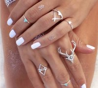 Wholesale 6PCS SET Bohemian Style Vintage Anti Silver Color Rings turquoise deer Fawn geometry arrow Rings Set for women