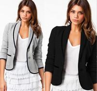 Wholesale hot sale Blazer Women Fashion Women s Spring Slim Short Design Turn down Collar Blazer Grey Short Coat Jackets for women