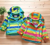 pizex - Children s clothing New pattern Children s outfit Blue Patchwork stripe Side zipper Fleece Hooded The wind Pizex Blended clothing