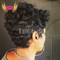 Cheap Brazilian hair Short human hair wig Best short curly Rihanna's Hairstyle human hair wig