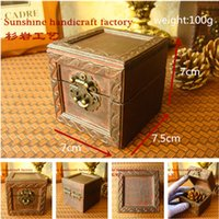 Wholesale 1PCS7 cm Vintage Jewelry Box Jewellery Organizer Storage Case Mini Wood Container Handmade Wooden Small Boxes